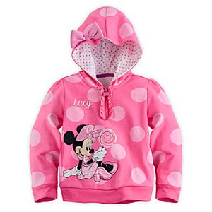 Minnie Mouse Hoodie for Girls - Pink - Personalizable