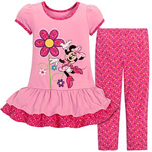 Polka-Dotted Minnie Mouse Dress Set for Toddler Girls -- 2-Pc.