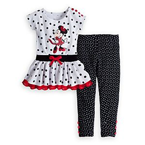 Minnie Mouse White Knit Dress and Leggings Set for Girls