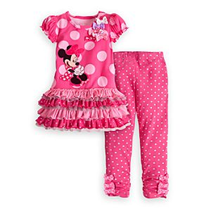 Minnie Mouse Pink Knit Dress and Leggings Set for Girls