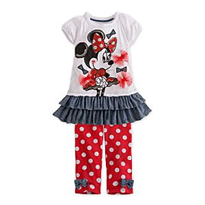 Minnie Mouse Dress and Polka-Dot Legging Set for Girls