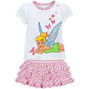 Rhinestone Glittering Tinker Bell Skirt Set for Girls -- 2-Pc.