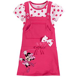 Short Sleeve Minnie Mouse Jumper Set for Toddler Girls -- 2-Pc.