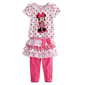 Minnie Mouse Top and Skirt with Leggings Set for Girls