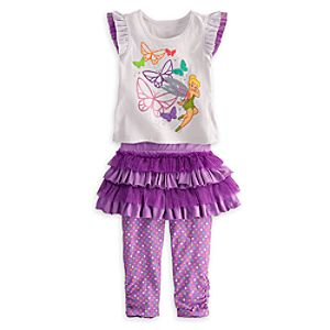 Tinker Bell Top and Skirt with Leggings Set for Girls