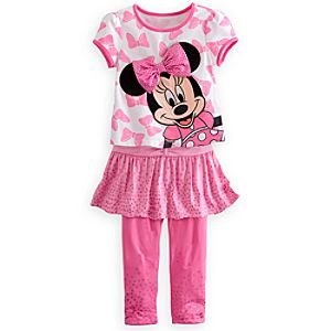 Minnie Mouse Tee and Leggings with Skirt Set for Girls