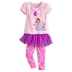 Sofia Tee and Leggings with Skirt Set for Girls