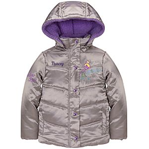 Personalizable Hooded Puffy Tinker Bell Jacket for Girls