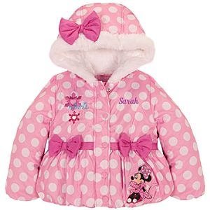 Personalizable Hooded Puffy Minnie Mouse Jacket for Girls