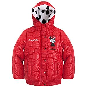 Personalizable Hooded Circle Quilted Puffy Minnie Mouse Jacket for Girls