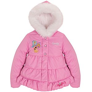 Personalizable Hooded Puffy Disney Princess Jacket for Girls