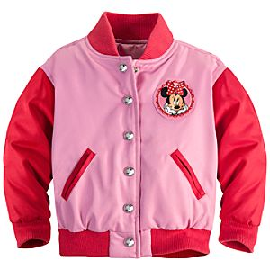 Personalizable Varsity Minnie Mouse Jacket for Toddler Girls