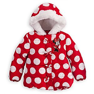 Personalizable Puffy Minnie Mouse Jacket for Girls -- Red