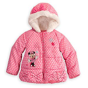 Personalizable Puffy Minnie Mouse Jacket for Girls -- Pink