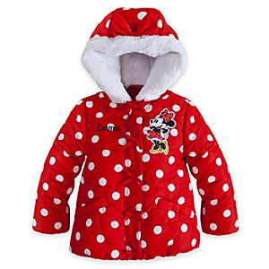 Minnie Mouse Hooded Puffy Jacket for Girls - Personalized