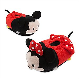 Mickey and Minnie Mouse Tsum Tsum Plush Slippers for Adults