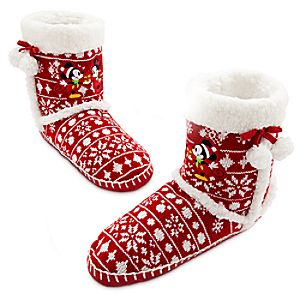 Mickey and Minnie Mouse Holiday Slipper Boot for Women
