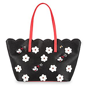 Minnie Mouse Floral Tote - Black