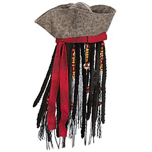 Captain Jack Sparrow Pirates of the Caribbean Hat with Hair for Adults