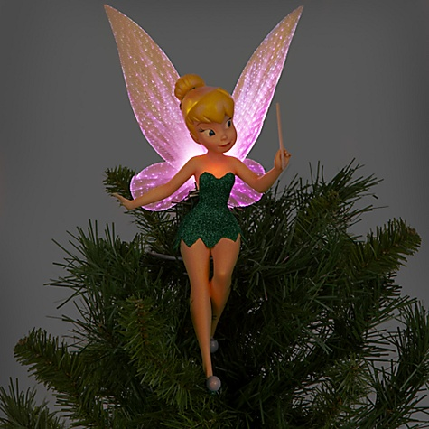 Disney Store Tinker Bell Green Christmas Tree Topper Light
