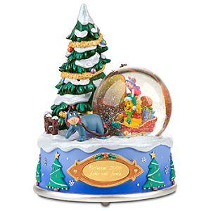 Personalized Wintry Wonderland Winnie the Pooh Snowglobe