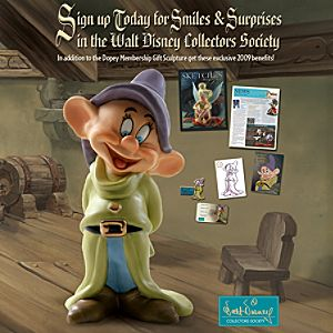 WDCS 2009 Membership Kit with Dopey Figurine, Pin & Lithograph