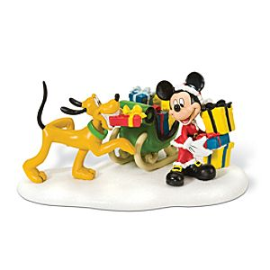 Loading the Sleigh Mickey Mouse and Pluto Figurine by Dept. 56
