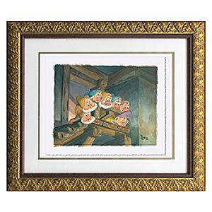 Framed Limited Edition ''On Top of the Stairs'' Seven Dwarfs Giclée