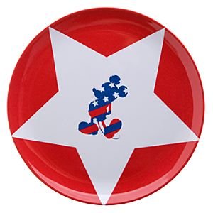 Red, White and Mickey Mouse Plates -- 4-Pc. Set