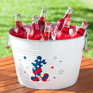 Red, White and Mickey Mouse Metal Party Bucket