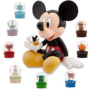 Happy Holiday Mickey Mouse Snowglobe Set -- 10-Pc.