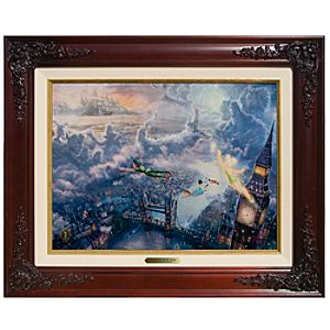 ''Tinker Bell and Peter Pan Fly to Neverland'' Framed Classics Collection by Thomas Kinkade -- 17 1/2'' x 21 1/2''