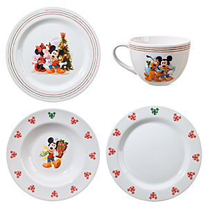 Holiday Mickey Mouse Dinnerware Set -- 16-Pc.