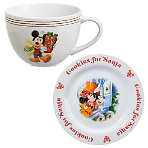 Cookies for Santa Mickey Mouse Plate and Mug Set -- 2-Pc.