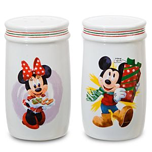 Holiday Minnie and Mickey Mouse Salt and Pepper Shaker Set -- 2-Pc.