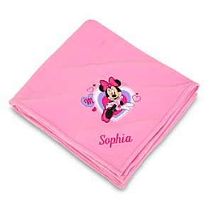Personalized Minnie Mouse Fleece Throw Blanket