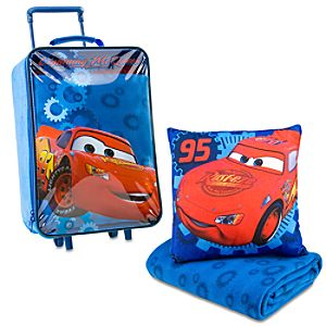 Rolling Lightning McQueen Luggage, Pillow & Blanket Set