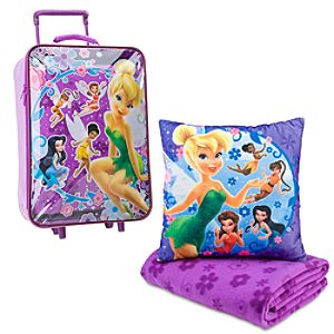 Rolling Disney Fairies Tinker Bell Luggage, Pillow & Blanket Set