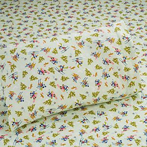 Skiing Mickey Mouse Flannel Sheet Set -- Twin