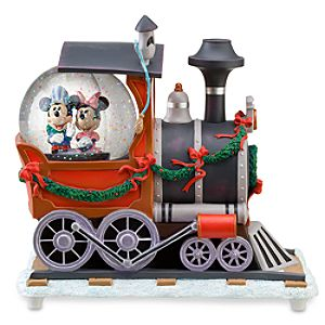 Train Engine Minnie and Mickey Mouse Snowglobe