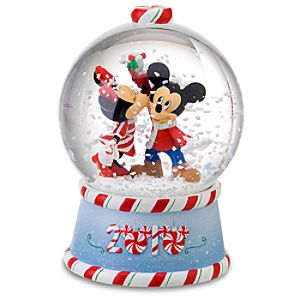 2010 Candy Cane Minnie and Mickey Mouse Snowglobe