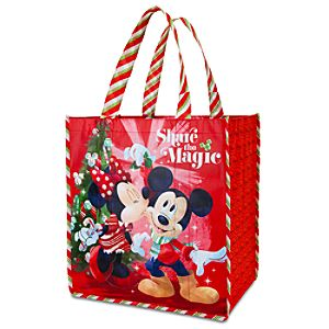 Reusable Holiday Mickey and Minnie Tote
