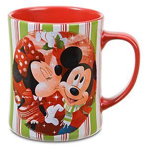 Mistletoe Minnie Mouse and Mickey Mouse Mug