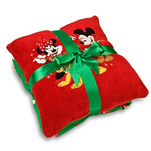 Christmas Minnie and Mickey Mouse Pillow and Throw Set -- 2-Pc.