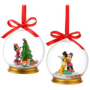 Minnie Mouse and Mickey Mouse Snowglobe Ornament Set -- 2-Pc.
