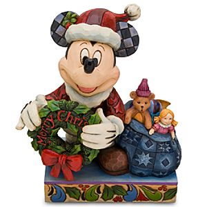 Santa Mickey Mouse Figurine with Wreath by Jim Shore