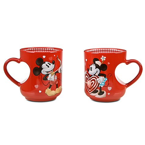 Valentine's Day Minnie and Mickey Mouse Mug Set -- 2-Pc.