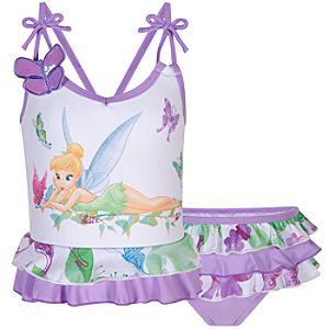 Glittering Butterfly Tinker Bell Swimsuit for Girls -- 2-Pc.