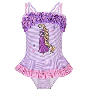 Deluxe One-Piece Rapunzel Swimsuit for Girls
