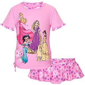Disney Princess Rashguard Swimsuit for Girls -- 2-Pc.